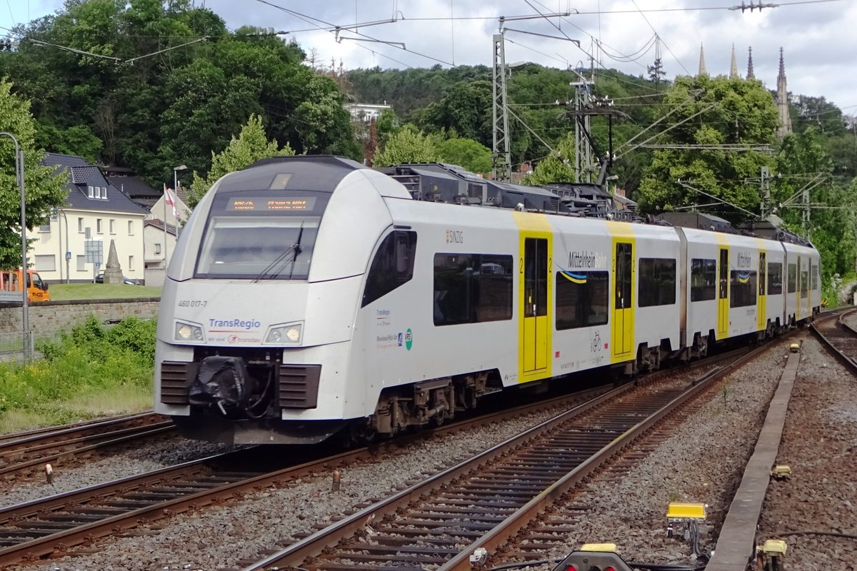 TransRegio 460 017 treft am 7 Juni 2019 in Remagen ein.
