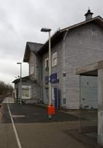 sonstige-in-nordrhein-westfalen/175945/der-bahnhof-ferndorf-kr-siegen-an Der Bahnhof Ferndorf (Kr. Siegen) an der Rothaarbahn (KBS 443), hier am 14.01.2012.