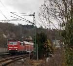 re-9-rhein-sieg-express/175004/111-077-4-mit-re-9-rhein-sieg-express 111 077-4 mit RE 9 (Rhein-Sieg-Express) Aachen - Köln - Siegen, hat hier am 10.12.2011 den Bahnhof Betzdorf/Sieg verlassen und fährt weiter in Richtung Siegen.