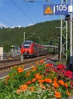 re-9-rhein-sieg-express/284712/442-262--762-viertieliger-gekuppelte 442 262 / 762 viertieliger gekuppelte  Bombardier Talent 2 als RE 9 (rsx - Rhein-Sieg-Express) Siegen - Köln - Aachen fährt am 04.08.2013 in den Bahnhof Betzdorf/Sieg ein.