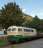 Brohltalbahn/173316/die-schmalspur-1000mm-diesellok-d5-ex Die schmalspur (1000mm) Diesellok D5 (ex FEVE 1405) der Brohltalbahn steht am 18.08.2011 im Bf Niederzissen, hier ist Zwischenhalt auf der Bergfahrt. Die Lok wurde 1966 unter der Fabriknummer 31004 B'B' 1966 Henschel  gebaut. Sie hat eine Leistung von 1200 PS und eine Bauart B-B. Im Jahr 1998 kam die Lok von Spanien ins Brohltal.