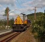 die-lei-gmbh/182191/dli-112-goliath-der-die-lei-gmbh  DLI 112 'Goliath' der Die-Lei GmbH (Kassel) mit leerem Schüttgutwagenzug fährt mit 20 kmh am 29.07.2011 über das Baugleis in Wilnsdorf-Anzhausen (an der KBS 445) in Richtung Siegen. Die Lok vom Typ DG 1200 BBM (Bauart B'B'-dh) wurde 1966 von Deutz unter der Fabrik-Nr. 57982 gebaut. Auslieferung an die KFBE Köln-Frechen-Benzelrather Eisenbahn, Köln (V 75) ab 1992 HGK (V 37 und 1997 in DH 37).