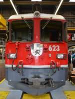 ge-4-4-ii-rhb/347568/jubilaeum-125-jahre-rhb-am-10052014 Jubiläum 125 Jahre RhB am 10.05.2014. Frontansicht der Jubiläumslokomotive Ge 4/4 II 623 Bonaduz, die als 'Begrüssungslokomotive' in der Depothalle aufgestellt war.