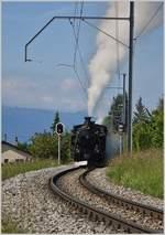 b-c-blonay-chamby/612072/die-bfd-hg-34-nr3-faehrt Die BFD HG 3/4 NR.3 fährt nach einem Signalhalt beim Château d'Hauteville weiter nach Blonay. (20.05.2018)
