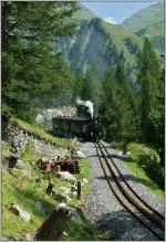DFB Dampfbahn Furka Bergstrecke/287080/auf-wunsch-des-webmasters-hier-noch Auf Wunsch des Webmasters hier noch eine Aufnahme in Hochformat mit dem Dampfzug 131 der auf dem Weg nach Oberwald ist. (05.08.2013)