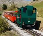 BRB Brienz Rothornbahn/175375/am-01102011-die-heizoel-befeuerte-brb Am 01.10.2011, die Heizöl befeuerte BRB 14 kommt vom Rothorn Gipfel, hier kurz vor der Mittelstation Planalb.