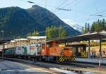 berninabahn-unesco-weltkulturerbe/587859/die-rhb-tm-22-119-eine  Die RhB Tm 2/2 119 (eine Schöma CFL 250 DA ) stellt am 13.09.2017 im Bf. Pontresina einen Güterzug zusammen.