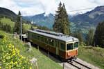 bde-44-1000-mm/611993/bergbahn-lauterbrunnen-muerrenregionalzug-bestehend-aus-dem-bde Bergbahn Lauterbrunnen-Mürren. Regionalzug bestehend aus dem BDe 4/4 22, 1967, SIG/BBC/SAAS, auf der Fahrt nach Mürren. Die Aufnahme entstand am 24. Mai 2018 zwischen Grütschalp und Winteregg. Foto: Walter Ruetsch